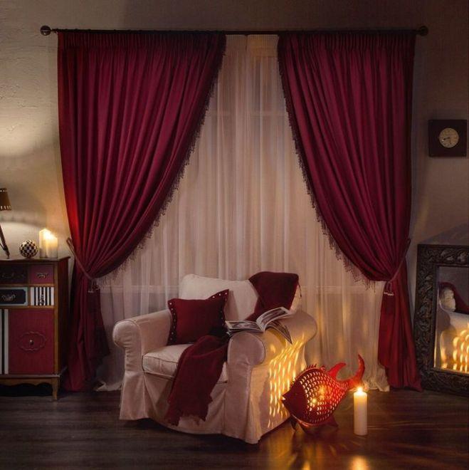 Бордовые шторы фото 1